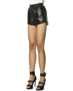 Womens Woven Leather Shorts, Black/White   Emilio Pucci   Black (6)
