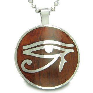 "All Seeing Eye of Horus Egyptian Magic Cherry Wood Amulet Magic Powers Circle Pure Stainless Steel on 22"" Pendant Necklace: Best Amulets: Jewelry"
