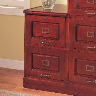 Coaster Legal/Letter File Filing Cabinet with Lock, 2 Drawer, Cherry Finish   Home Office Computer Desks