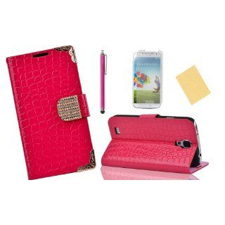 OMIU(TM)Special Corner Design Quality Wallet Leather Carry Case Cover with Credit Card Holders Fit for Samsung Galaxy S4 I9500(Hot Pink), With Luxury Rhinestones Closure Button, Stand View Function, Sent Screen Protector+Stylus+Cleaning Cloth: Cell Phones