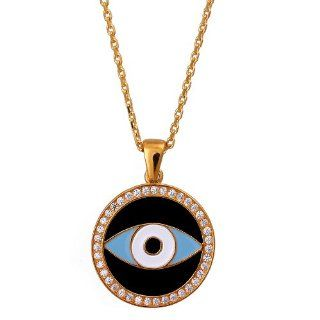 Black Enamel Silver Celebrity Evil Eye Necklace As Seen on Tv Serie: Alia: Jewelry