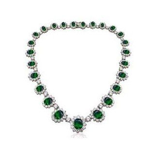 "As Seen On "" Pretty Woman "" Necklace and Earrings SET   Emerald Green Cubic Zirconia CZ May Birthstone INCLUDES VELVET GIFT BOX: SOJ: Jewelry"