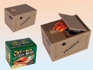 "Spardose   "" Katze in der Kiste "" "" Cat in the Box "" ca. 11 x 8 x 7 cm: Spielzeug"