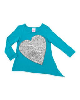 Sequin Heart Side Tie Tunic, 4 6X