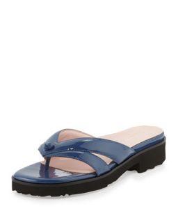 Tacy Patent Thong Sandal, Blue   Taryn Rose   Blue (35.0B/5.0B)