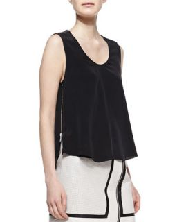 Womens Trapeze Silk and Leather Tank   Andrew Marc x Richard Chai   Black