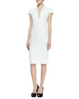 Womens Cap Sleeve Deep V Neck Dress, Ivory   Alexander McQueen   Ivory (38)