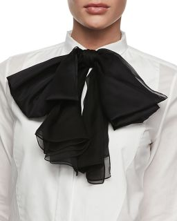 Silk Bow Neck Tie, Black   Saint Laurent   Black