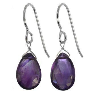 Ashanti African Purple Amethyst Sterling Silver Earrings (Sri Lanka