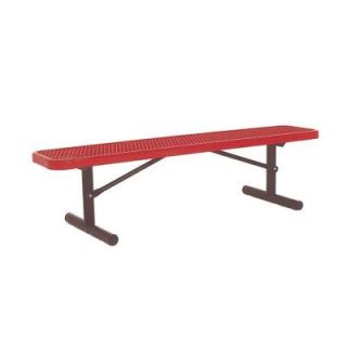 Ultra Play 6 ft. Diamond Red Portable Commercial Park Bench without Back Surface Mount PBK942P V6R