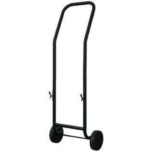 UniFlame  Large Black Wrought Iron Log Rack With Wheel And Removable