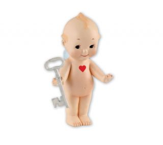 Kewpie Key to My Heart 4&quot Bisque Porcelain Figurine —
