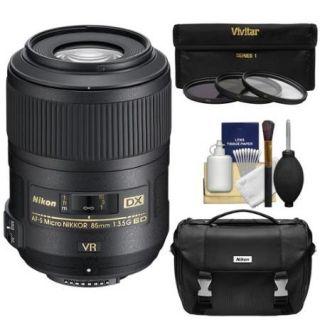 Nikon 85mm f/3.5 G VR AF S DX ED Micro Nikkor Lens + Gadget Bag + 3 Filters Kit for D3200, D3300, D5300, D5500, D7100, D7200, D500, D750, D810 Camera
