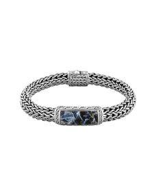 John Hardy Mens Batu Classic Chain Silver and Blue Pietersite Bracelet