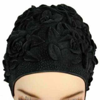 Luxury Divas Black Floral Emboss Vintage Style Latex Swim Bathing Cap