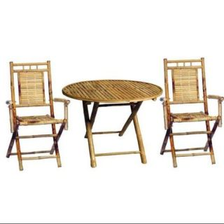3 Pc Outdoor Bamboo Dining Round Table Set