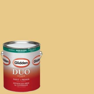 Glidden DUO 1 gal. #HDGY46 Vintage Yellow Semi Gloss Latex Interior Paint with Primer HDGY46 01S