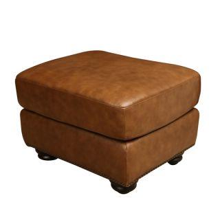 ABBYSON LIVING Arizona Cognac Brown Top Grain Leather Ottoman