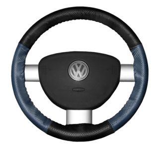 2015 Toyota Sienna Leather Steering Wheel Covers   Wheelskins Black Perf/Sea Blue Perf 15 1/4 X 4 1/2   Wheelskins EuroPerf Perforated Leather Steering Wheel Covers