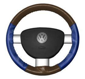 2015 Toyota Sienna Leather Steering Wheel Covers   Wheelskins Brown/Cobalt Perf 15 1/4 X 4 1/2   Wheelskins EuroPerf Perforated Leather Steering Wheel Covers