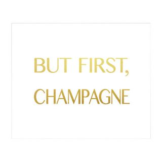 PTM Images But First Champagne Giclée Framed Textual Art
