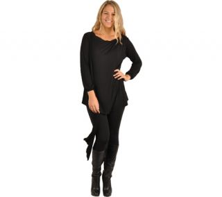 Womens J Arty Wide Neck Long Sleeve Scarf Top