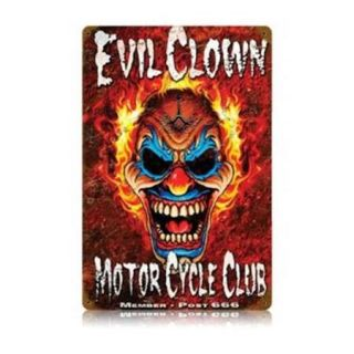 Past Time Signs LWT032 Evil Clown Motorcycle Vintage Metal Sign