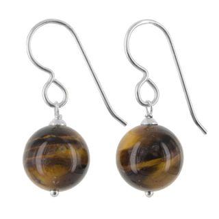 Ashanti Sterling Silver Tiger Eye Gemstone Handmade Earrings (Sri