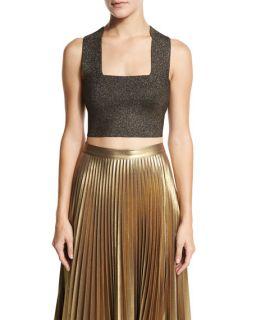 A.L.C. Ali Metallic Crop Top & Gates Pleated Metallic Skirt