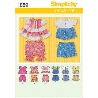 Simplicity Pattern Babies' Dresses, (XXS, XS, S, M, L)