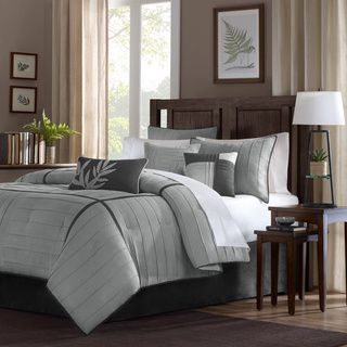 Madison Park Meyers Grey 7 piece Solid Casual Pattern Comforter Set