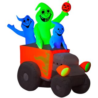 Halloween Airblown Inflatable Neon Hot Rod Ghosts   15703776
