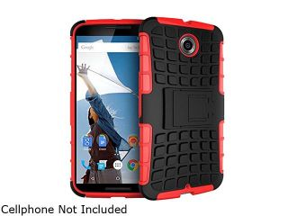 rooCASE Red Heavy Duty Armor Hybrid Rugged Stand Case for Google Nexus 6 RCNX6HYBD9RD