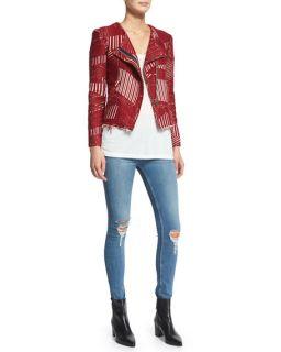 IRO Mepsie Multipattern Jacket, Britney Short Sleeve Tee & Nikky Distressed Jeans