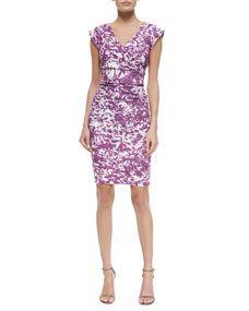 Nicole Miller Becket Ruched Floral Dress, Deep Fuchsia