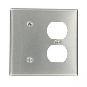 Leviton 84008 40 Comb Wall Plate, 2 Gang, Blank/Duplex, Non Metallic Stainless Steel