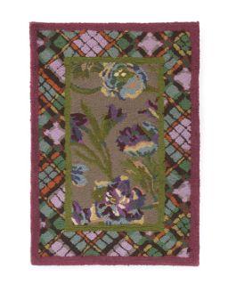 MacKenzie Childs Plaid Bouquet Rug, 2 x 3