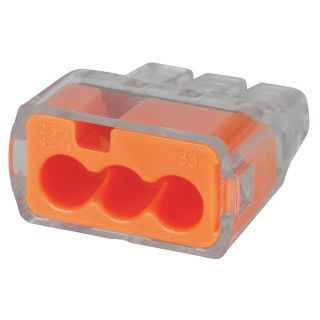 IDEAL Orange Push In Connector, 3 Port Connector Type   Push In Type Wire Connectors   5EKL6 30 1633