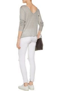 Striped gray and white linen blend top  ENZA COSTA