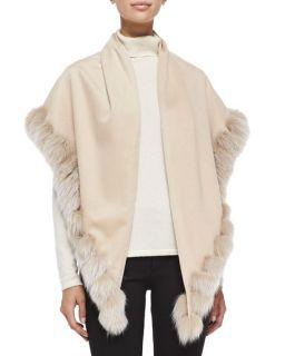 Sofia Cashmere Whip Stitch Fox Fur Shawl, Blonde