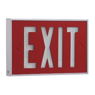 ISOLITE Aluminum Self Luminous Exit Sign, Red Background Color, 10 yr. Life Expectancy   Self Luminous Exit Signs   2VDE6 2040 07 10 R