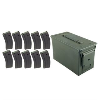 Ammo Can & 10 30rd AR 15 Magazines SS Spring  : AR 15/M16 30RD 223/5.56 CS USGI MAGAZINE TEN PACK WITH AMMO CAN