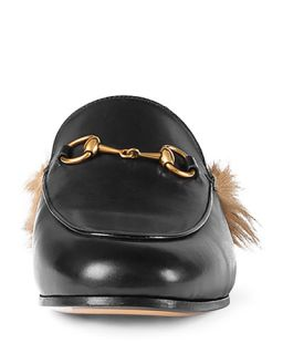Gucci Princetown Fur Lined Mule, Black (Nero)