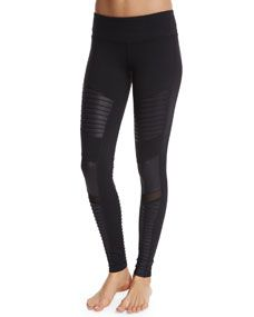 Alo Yoga Moto Full Length Sport Leggings, Black