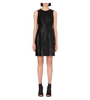 KAREN MILLEN   Stitch detail leather dress