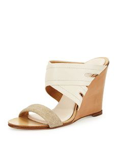 Rag & Bone Shaw Leather Wedge Mule, Natural