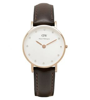 DANIEL WELLINGTON   Classy rose gold leather strap watch