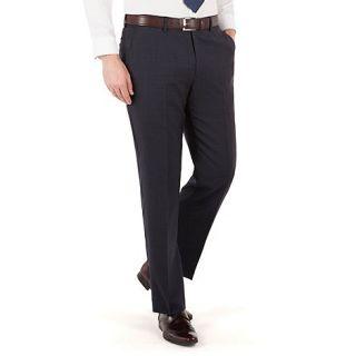 Jeff Banks Blue check plain front regular fit luxury suit trouser