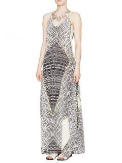 Printed Silk V Neck Maxi Dress by Charlie Jade