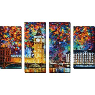 Big Ben London by Leonid Afremov 4 Piece Painting Print on Wrapped
